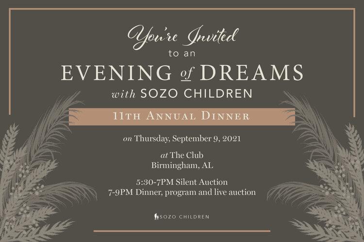 "Sozo Children To Host ""Evening of Dreams"" Fundraising Gala"